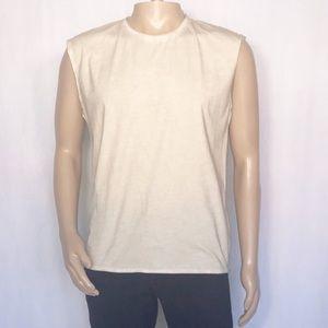 Threads 4 Thought Cream Raw Hem Muscle Shirt Sz: S